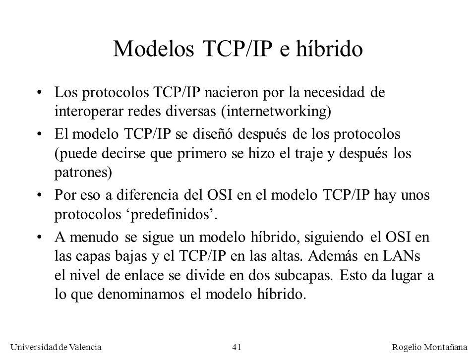 Universidad de Valencia Rogelio Montañana 41 Modelos TCP/IP e híbrido Los protocolos TCP/IP nacieron por la necesidad de interoperar redes diversas (i