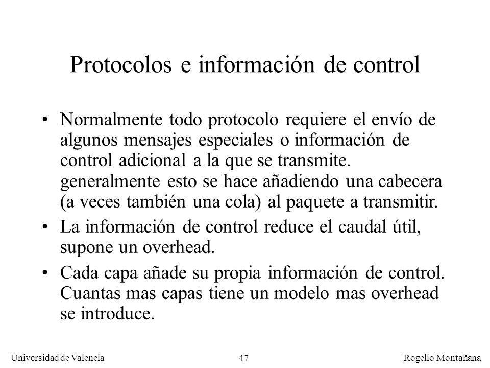 Universidad de Valencia Rogelio Montañana 47 Protocolos e información de control Normalmente todo protocolo requiere el envío de algunos mensajes espe