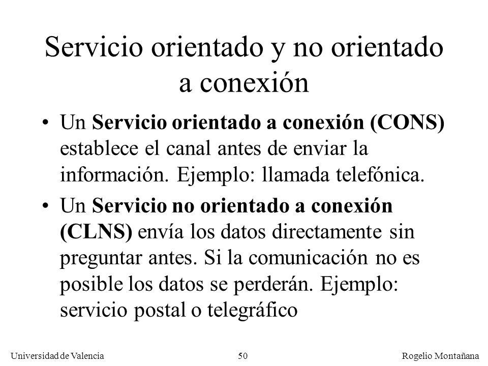 Universidad de Valencia Rogelio Montañana 50 Servicio orientado y no orientado a conexión Un Servicio orientado a conexión (CONS) establece el canal a