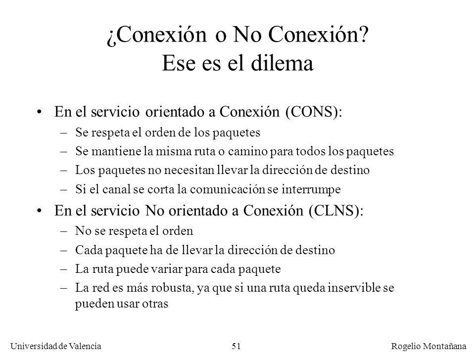 Universidad de Valencia Rogelio Montañana 51 ¿Conexión o No Conexión? Ese es el dilema En el servicio orientado a Conexión (CONS): –Se respeta el orde