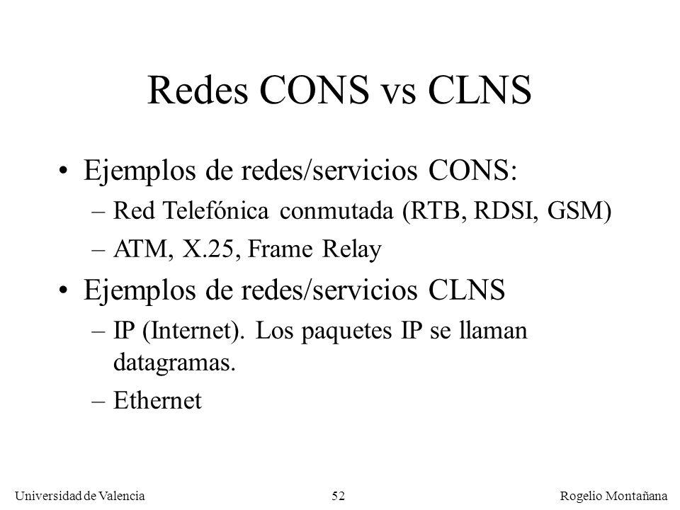 Universidad de Valencia Rogelio Montañana 52 Redes CONS vs CLNS Ejemplos de redes/servicios CONS: –Red Telefónica conmutada (RTB, RDSI, GSM) –ATM, X.2
