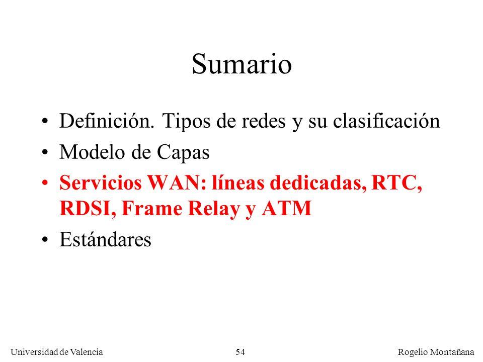 Universidad de Valencia Rogelio Montañana 54 Sumario Definición. Tipos de redes y su clasificación Modelo de Capas Servicios WAN: líneas dedicadas, RT