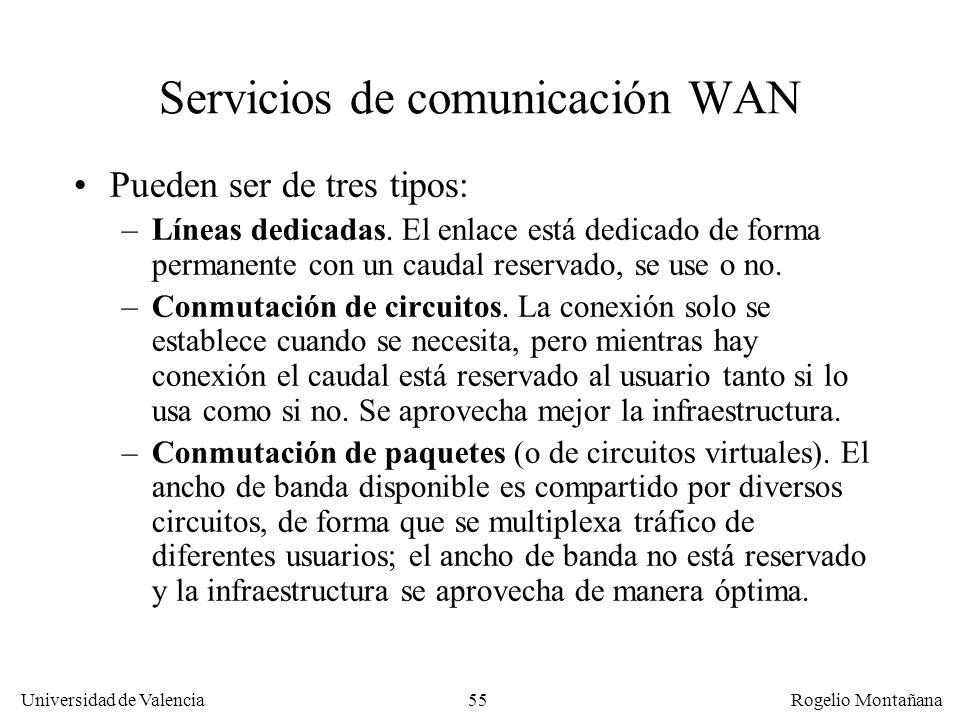 Universidad de Valencia Rogelio Montañana 55 Servicios de comunicación WAN Pueden ser de tres tipos: –Líneas dedicadas. El enlace está dedicado de for
