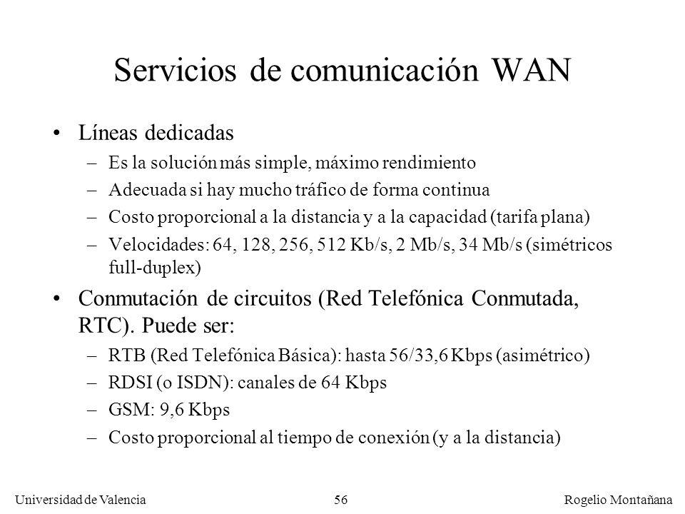 Universidad de Valencia Rogelio Montañana 56 Servicios de comunicación WAN Líneas dedicadas –Es la solución más simple, máximo rendimiento –Adecuada s