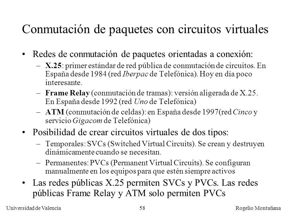 Universidad de Valencia Rogelio Montañana 58 Conmutación de paquetes con circuitos virtuales Redes de conmutación de paquetes orientadas a conexión: –
