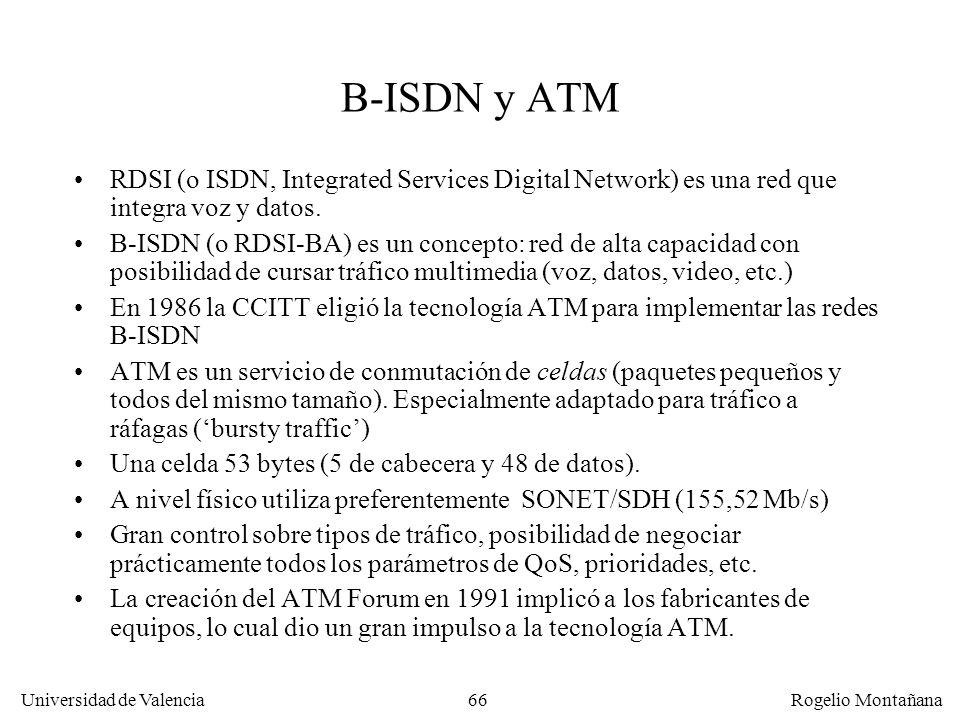 Universidad de Valencia Rogelio Montañana 66 B-ISDN y ATM RDSI (o ISDN, Integrated Services Digital Network) es una red que integra voz y datos. B-ISD