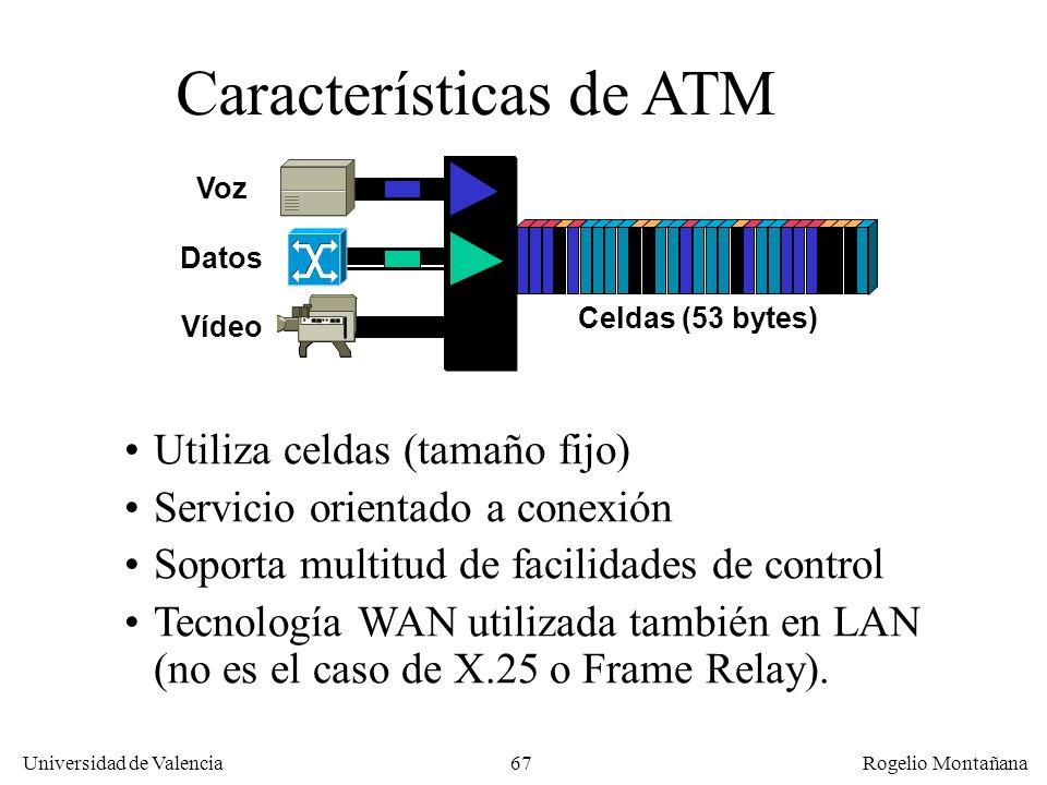 Universidad de Valencia Rogelio Montañana 67 Características de ATM Utiliza celdas (tamaño fijo) Servicio orientado a conexión Soporta multitud de fac