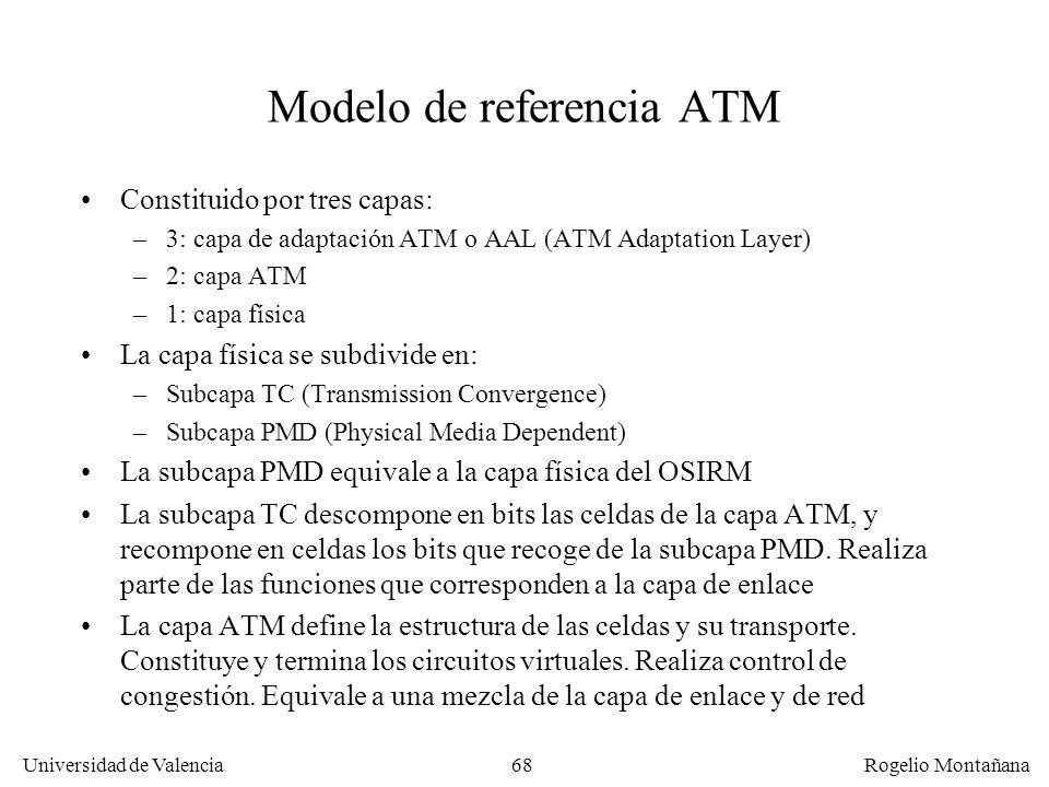 Universidad de Valencia Rogelio Montañana 68 Modelo de referencia ATM Constituido por tres capas: –3: capa de adaptación ATM o AAL (ATM Adaptation Lay