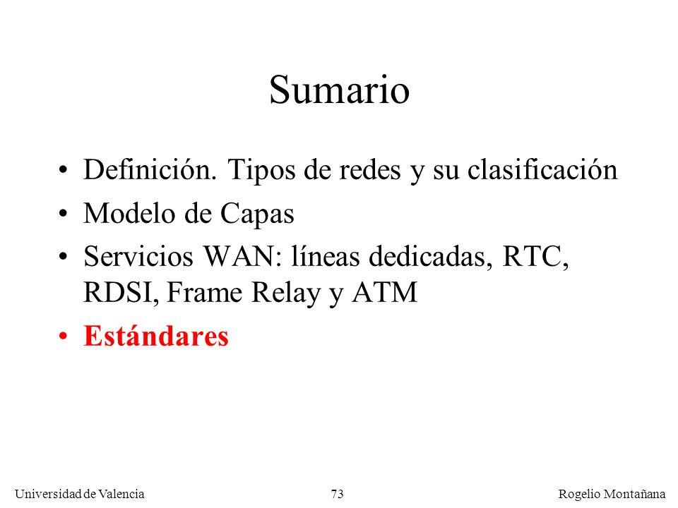 Universidad de Valencia Rogelio Montañana 73 Sumario Definición. Tipos de redes y su clasificación Modelo de Capas Servicios WAN: líneas dedicadas, RT