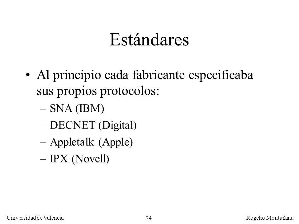 Universidad de Valencia Rogelio Montañana 74 Estándares Al principio cada fabricante especificaba sus propios protocolos: –SNA (IBM) –DECNET (Digital)