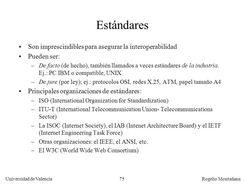 Universidad de Valencia Rogelio Montañana 75 Estándares Son imprescindibles para asegurar la interoperabilidad Pueden ser: –De facto (de hecho), tambi