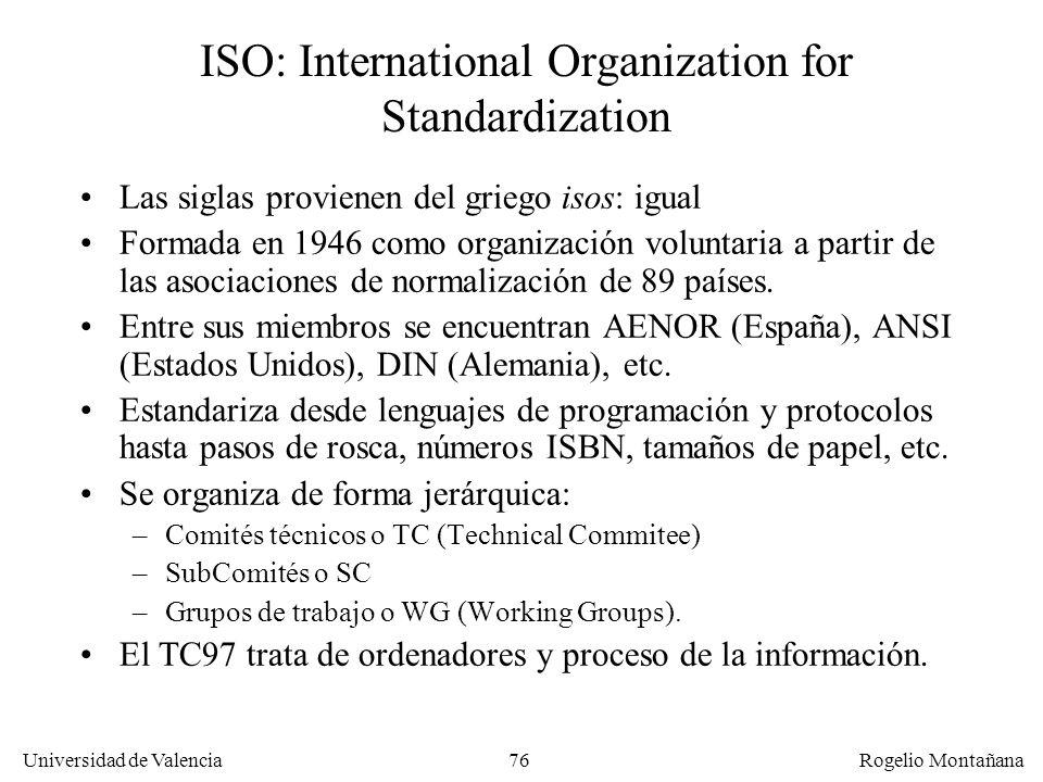 Universidad de Valencia Rogelio Montañana 76 ISO: International Organization for Standardization Las siglas provienen del griego isos: igual Formada e