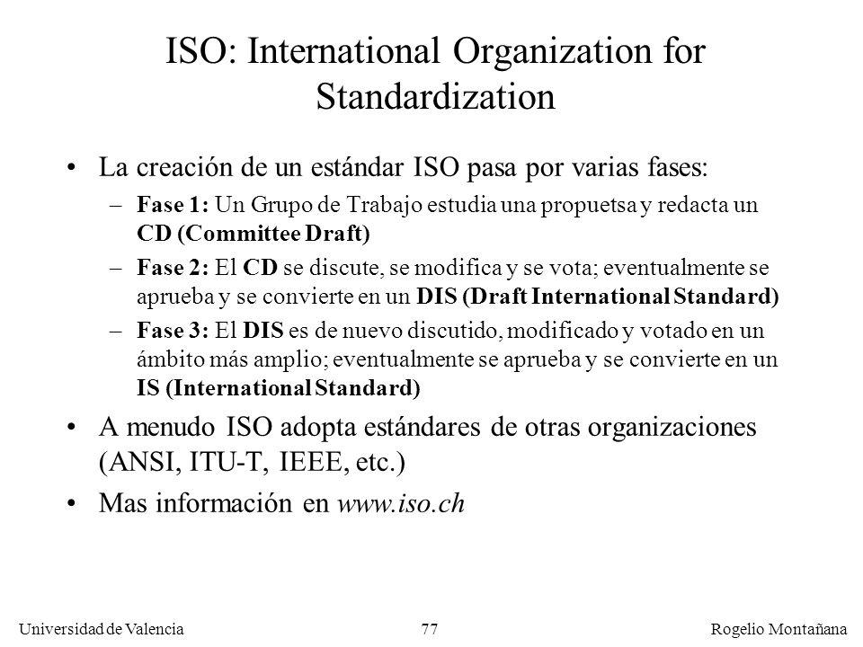 Universidad de Valencia Rogelio Montañana 77 ISO: International Organization for Standardization La creación de un estándar ISO pasa por varias fases: