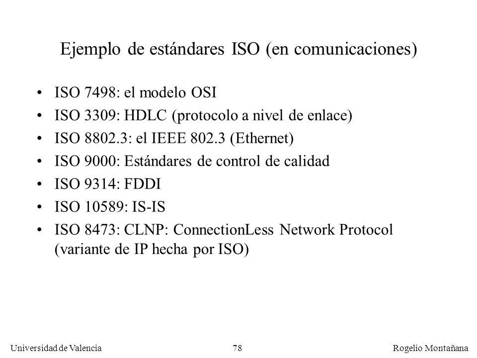 Universidad de Valencia Rogelio Montañana 78 Ejemplo de estándares ISO (en comunicaciones) ISO 7498: el modelo OSI ISO 3309: HDLC (protocolo a nivel d