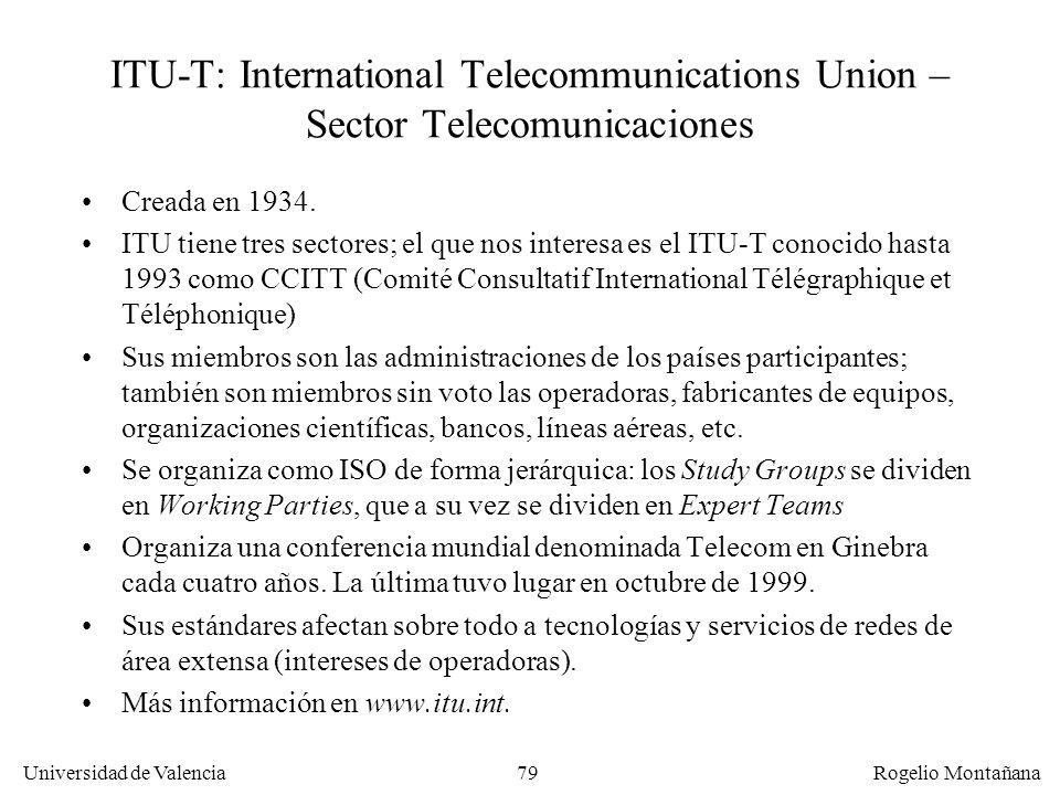 Universidad de Valencia Rogelio Montañana 79 ITU-T: International Telecommunications Union – Sector Telecomunicaciones Creada en 1934. ITU tiene tres