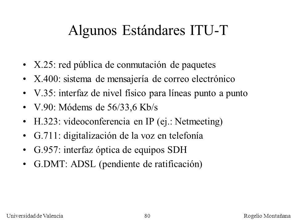 Universidad de Valencia Rogelio Montañana 80 Algunos Estándares ITU-T X.25: red pública de conmutación de paquetes X.400: sistema de mensajería de cor