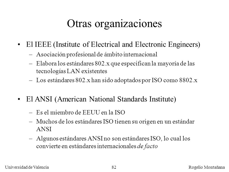Universidad de Valencia Rogelio Montañana 82 Otras organizaciones El IEEE (Institute of Electrical and Electronic Engineers) –Asociación profesional d