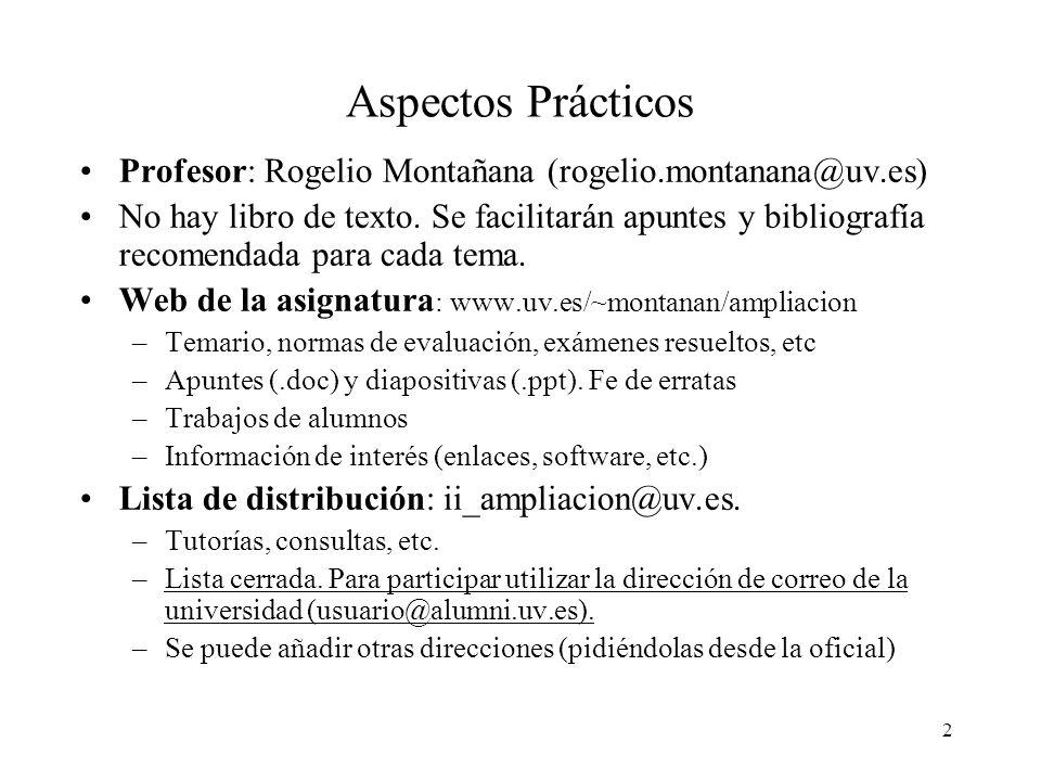 2 Aspectos Prácticos Profesor: Rogelio Montañana (rogelio.montanana@uv.es) No hay libro de texto.