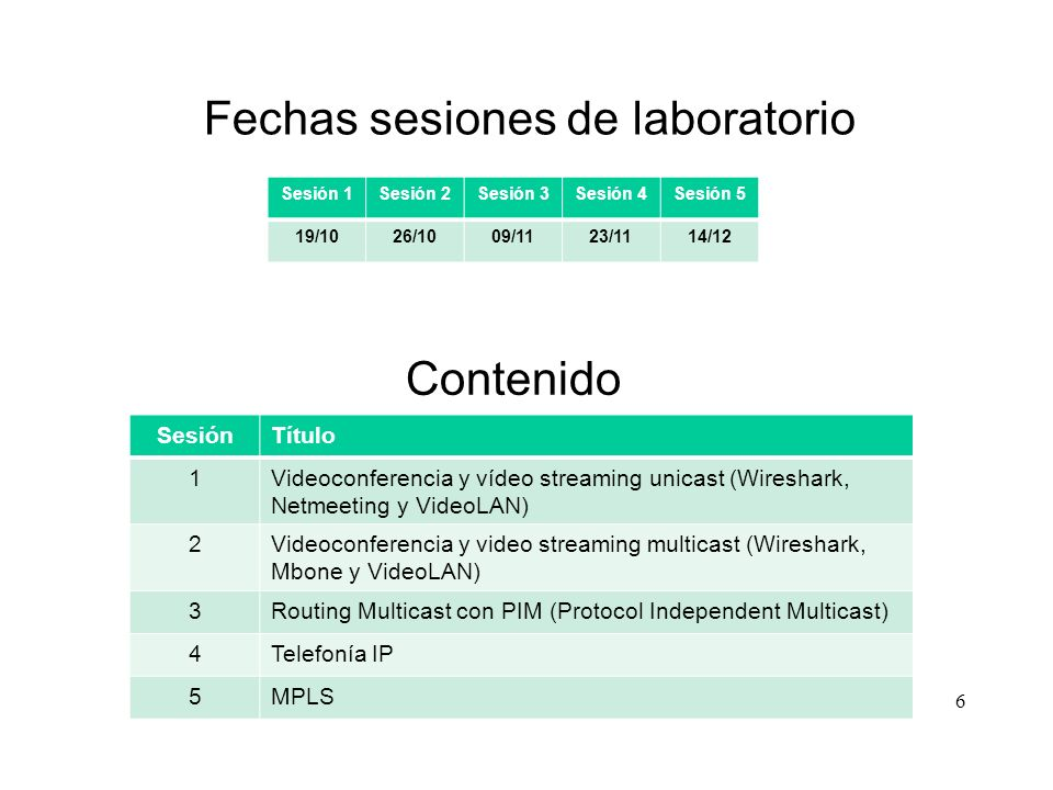 6 Sesión 1Sesión 2Sesión 3Sesión 4Sesión 5 19/1026/1009/1123/1114/12 Fechas sesiones de laboratorio Contenido SesiónTítulo 1Videoconferencia y vídeo streaming unicast (Wireshark, Netmeeting y VideoLAN) 2Videoconferencia y video streaming multicast (Wireshark, Mbone y VideoLAN) 3Routing Multicast con PIM (Protocol Independent Multicast) 4Telefonía IP 5MPLS