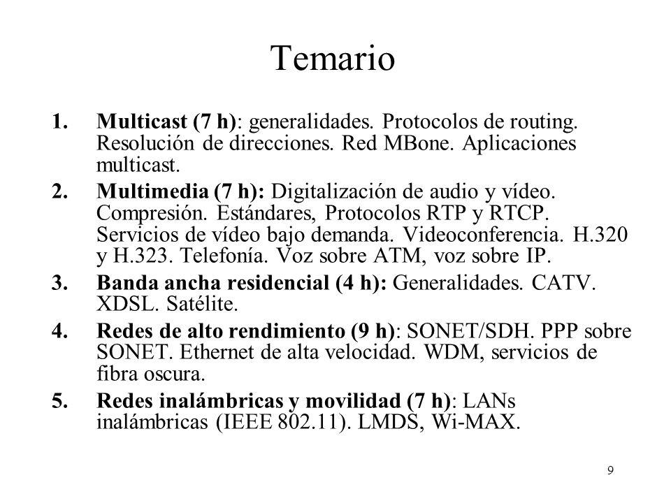 10 Temario TemaHorasFechas 1Multicast7 (1-7)14/09-28/09 2Multimedia7(8-14)28/09-23/10 4Redes de alto rendimiento9 (15-23)30/10-16/11 5Redes inalámbricas7 (24-30)14/11-11/12 3Banda ancha residencial4 (31-34)18/12-21/12 34