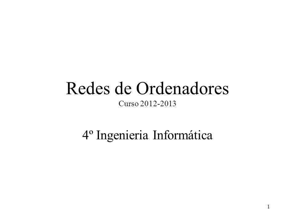 1 Redes de Ordenadores Curso 2012-2013 4º Ingenieria Informática