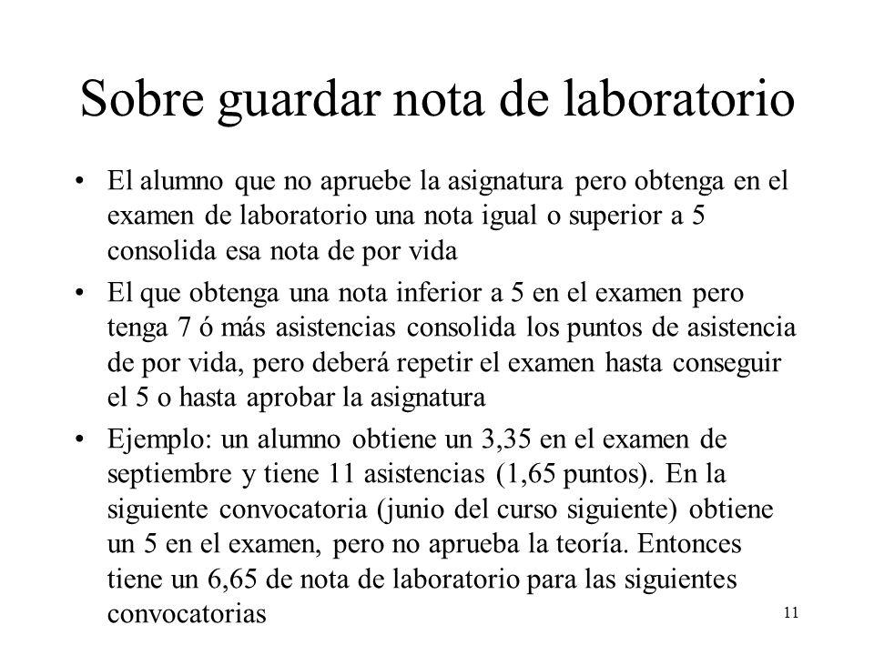 Sobre guardar nota de laboratorio El alumno que no apruebe la asignatura pero obtenga en el examen de laboratorio una nota igual o superior a 5 consol
