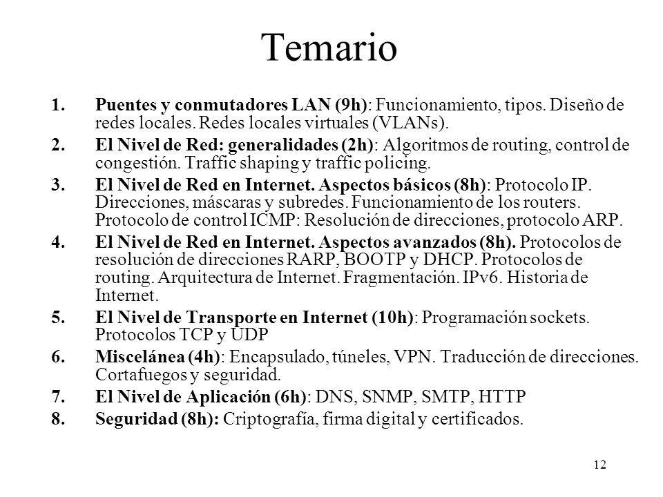 12 Temario 1.Puentes y conmutadores LAN (9h): Funcionamiento, tipos. Diseño de redes locales. Redes locales virtuales (VLANs). 2.El Nivel de Red: gene