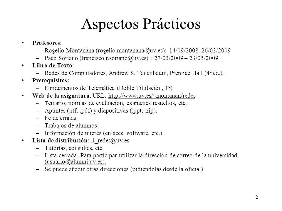 2 Aspectos Prácticos Profesores: –Rogelio Montañana (rogelio.montanana@uv.es): 14/09/2008- 26/03/2009rogelio.montanana@uv.es –Paco Soriano (francisco.