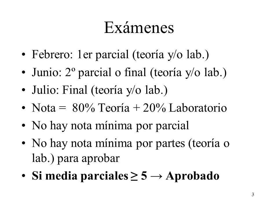 3 Exámenes Febrero: 1er parcial (teoría y/o lab.) Junio: 2º parcial o final (teoría y/o lab.) Julio: Final (teoría y/o lab.) Nota = 80% Teoría + 20% L
