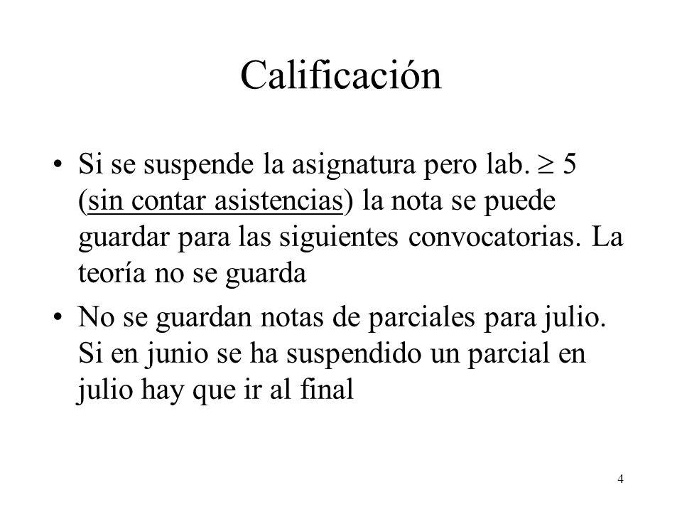 4 Calificación Si se suspende la asignatura pero lab. 5 (sin contar asistencias) la nota se puede guardar para las siguientes convocatorias. La teoría