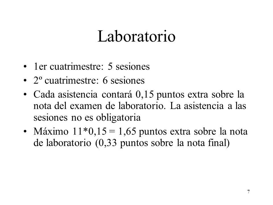 7 Laboratorio 1er cuatrimestre: 5 sesiones 2º cuatrimestre: 6 sesiones Cada asistencia contará 0,15 puntos extra sobre la nota del examen de laborator