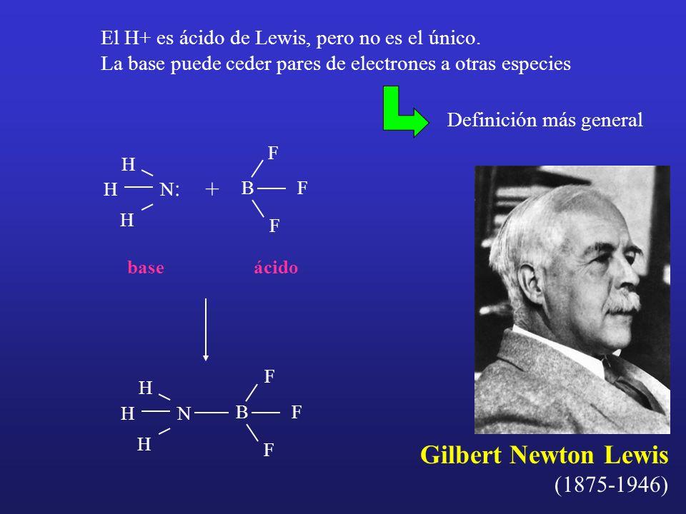 Gilbert Newton Lewis (1875-1946) El H+ es ácido de Lewis, pero no es el único. La base puede ceder pares de electrones a otras especies Definición más