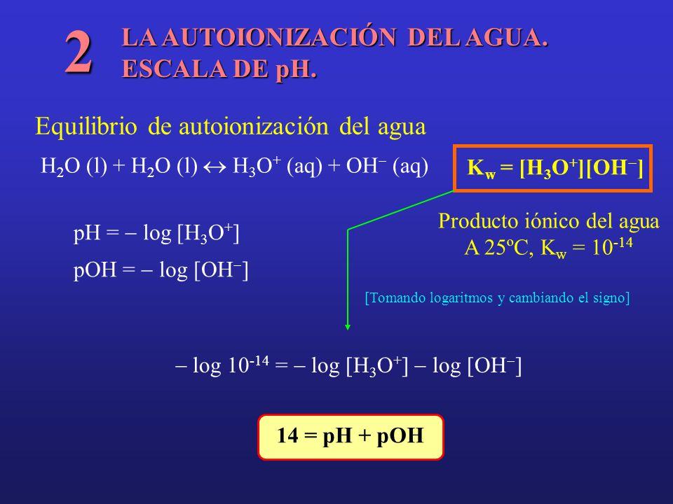 LA AUTOIONIZACIÓN DEL AGUA. ESCALA DE pH. 2 Equilibrio de autoionización del agua H 2 O (l) + H 2 O (l) H 3 O + (aq) + OH (aq) pH = log [H 3 O + ] pOH