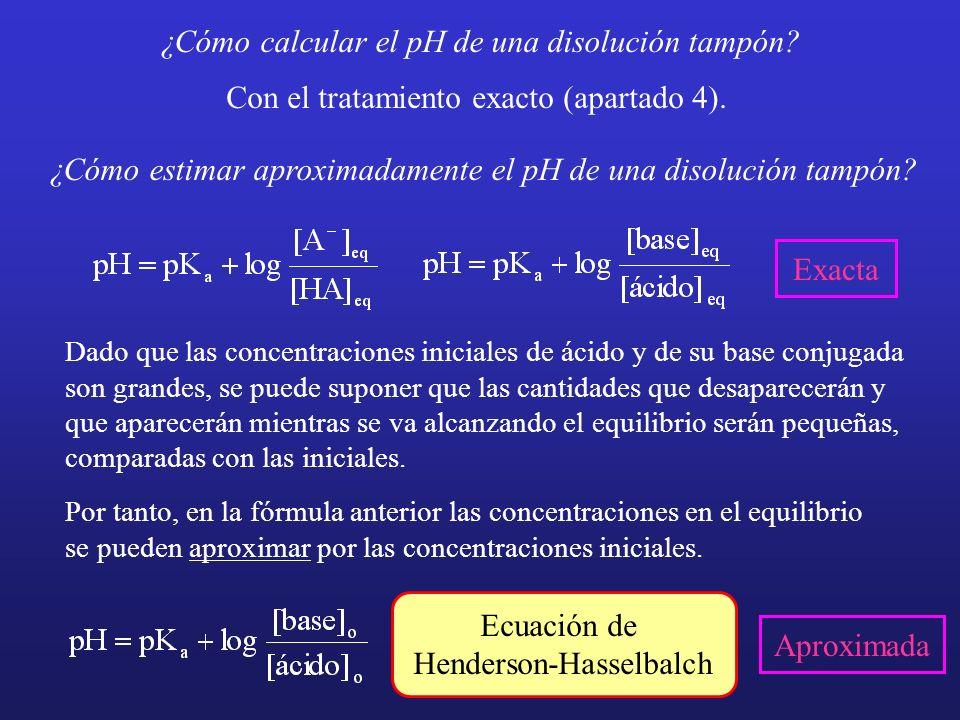 ¿Cómo calcular el pH de una disolución tampón? Con el tratamiento exacto (apartado 4). ¿Cómo estimar aproximadamente el pH de una disolución tampón? D