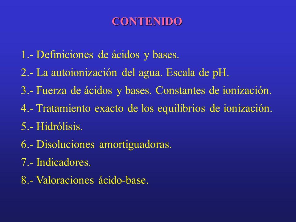 CONTENIDO 1.- Definiciones de ácidos y bases. 2.- La autoionización del agua. Escala de pH. 3.- Fuerza de ácidos y bases. Constantes de ionización. 4.