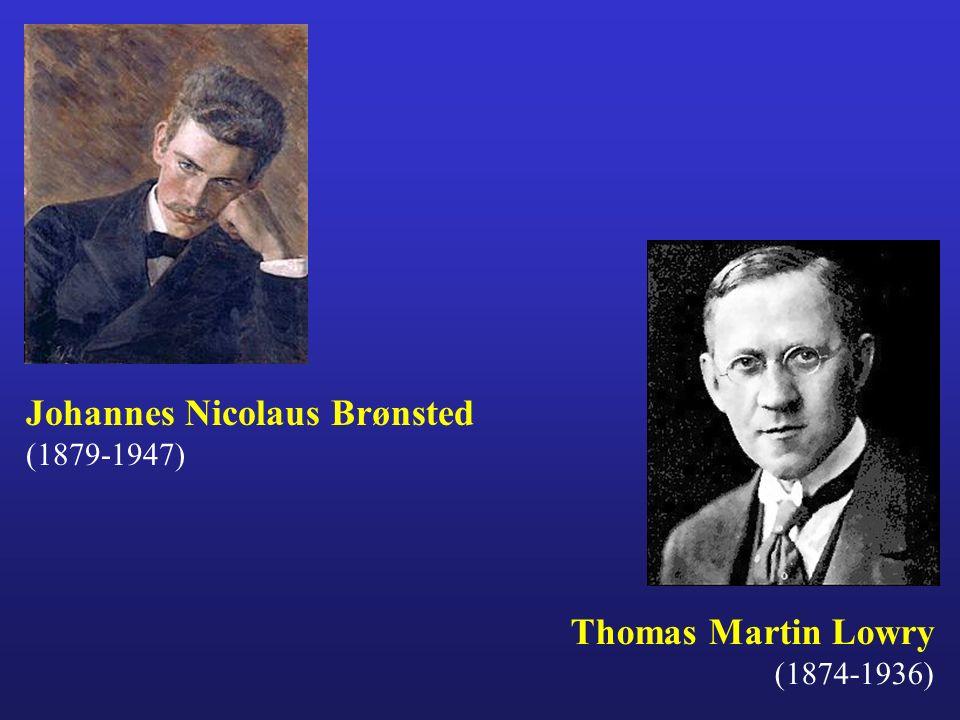 Thomas Martin Lowry (1874-1936) Johannes Nicolaus Brønsted (1879-1947)