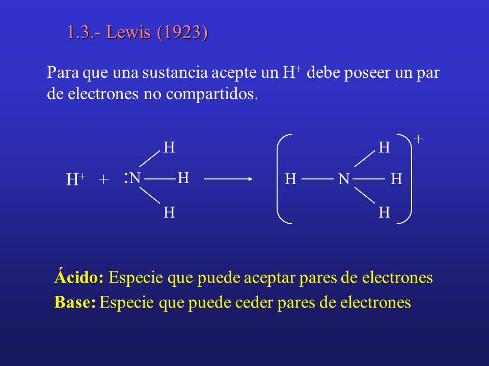 1.3.- Lewis (1923) Ácido: Especie que puede aceptar pares de electrones Base: Especie que puede ceder pares de electrones Para que una sustancia acept