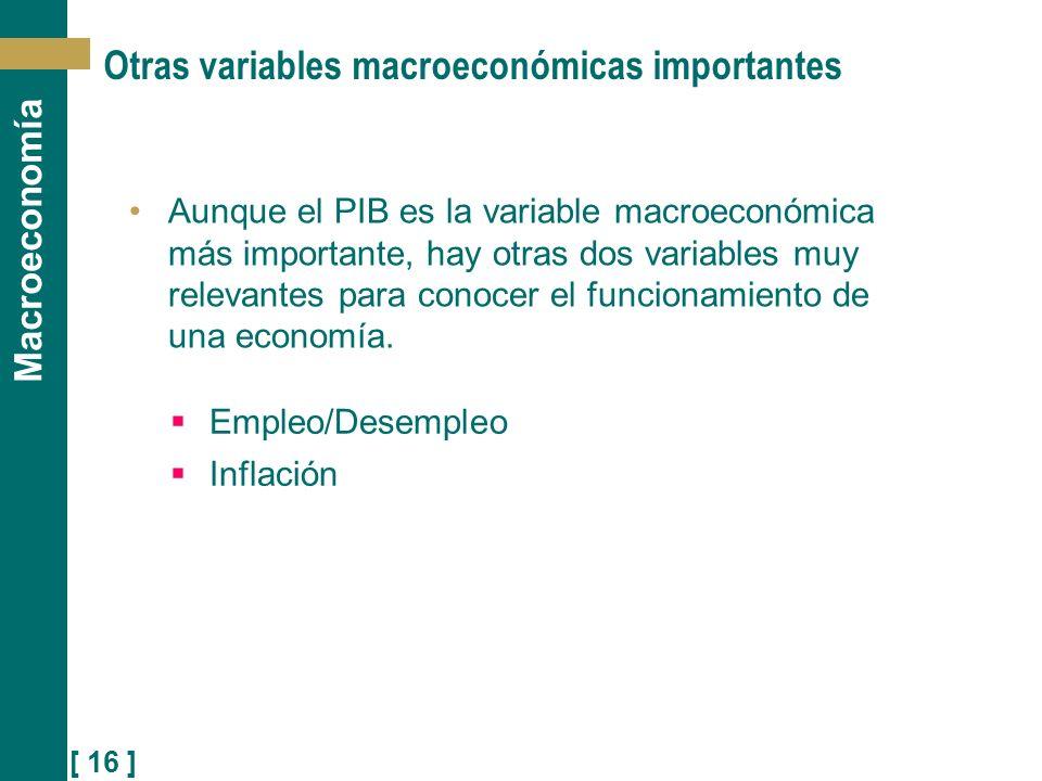 [ 16 ] Macroeconomía Otras variables macroeconómicas importantes Aunque el PIB es la variable macroeconómica más importante, hay otras dos variables m