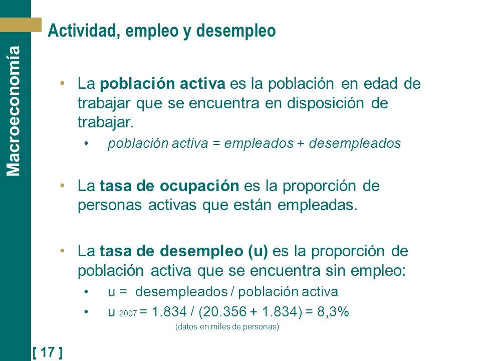 [ 17 ] Macroeconomía Actividad, empleo y desempleo La población activa es la población en edad de trabajar que se encuentra en disposición de trabajar
