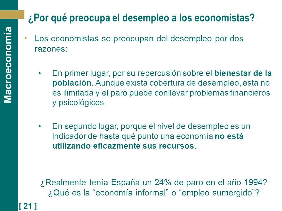 [ 21 ] Macroeconomía ¿Por qué preocupa el desempleo a los economistas? Los economistas se preocupan del desempleo por dos razones: En primer lugar, po