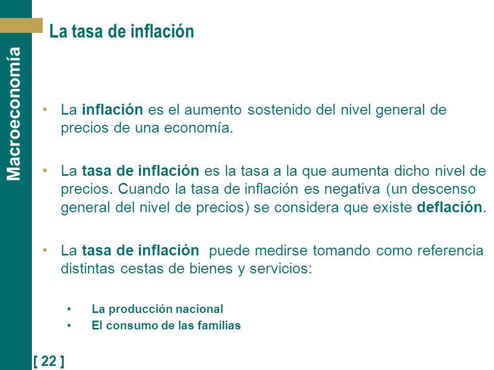 [ 22 ] Macroeconomía La tasa de inflación La inflación es el aumento sostenido del nivel general de precios de una economía. La tasa de inflación es l