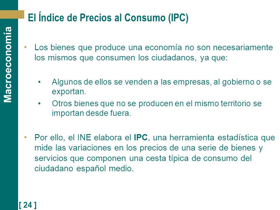 [ 24 ] Macroeconomía El Índice de Precios al Consumo (IPC) Los bienes que produce una economía no son necesariamente los mismos que consumen los ciuda
