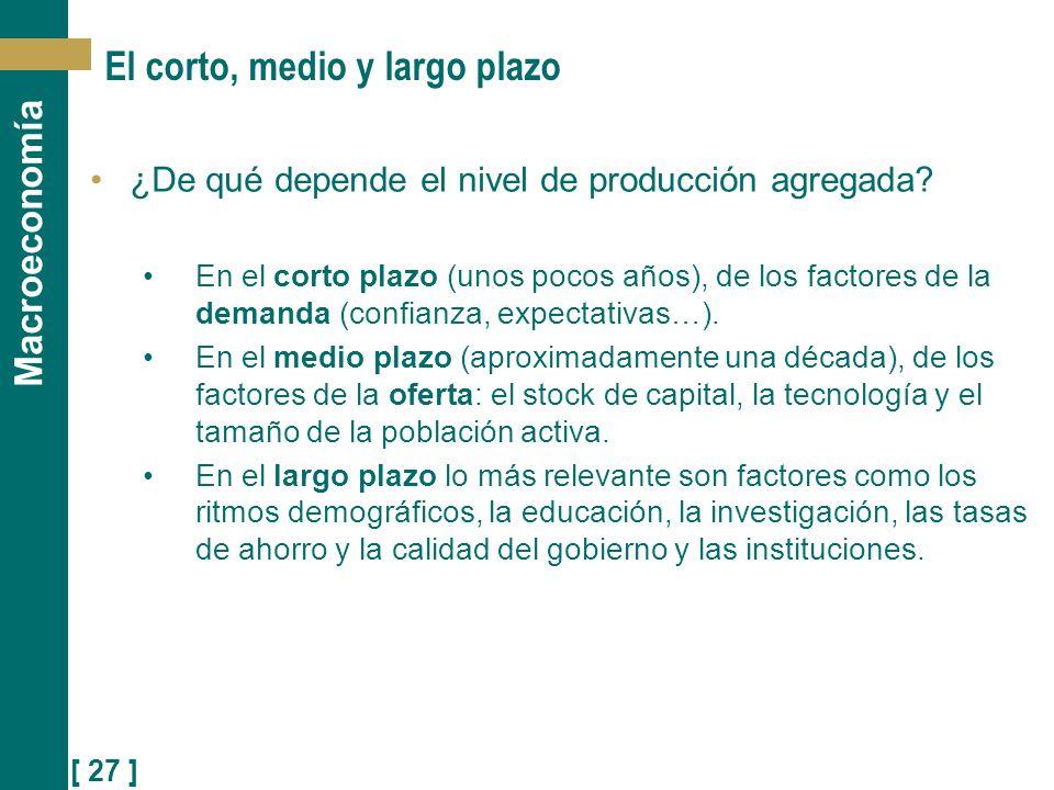 [ 27 ] Macroeconomía El corto, medio y largo plazo ¿De qué depende el nivel de producción agregada? En el corto plazo (unos pocos años), de los factor