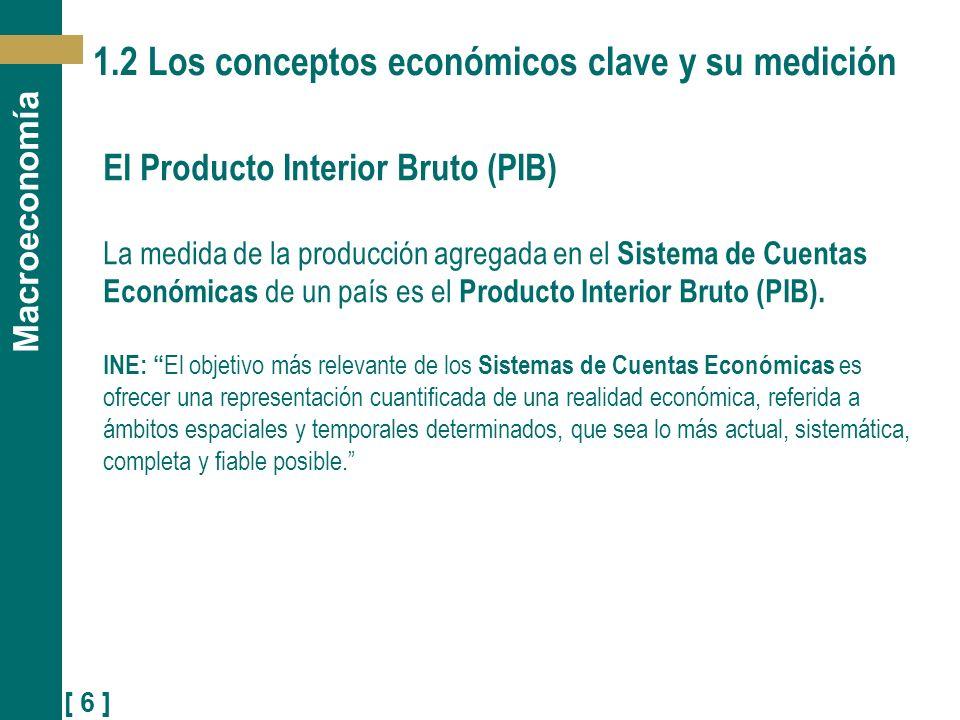 [ 6 ] Macroeconomía 1.2 Los conceptos económicos clave y su medición El Producto Interior Bruto (PIB) La medida de la producción agregada en el Sistem