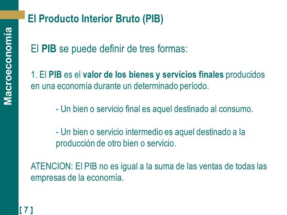 [ 7 ] Macroeconomía El Producto Interior Bruto (PIB) El PIB se puede definir de tres formas: 1. El PIB es el valor de los bienes y servicios finales p