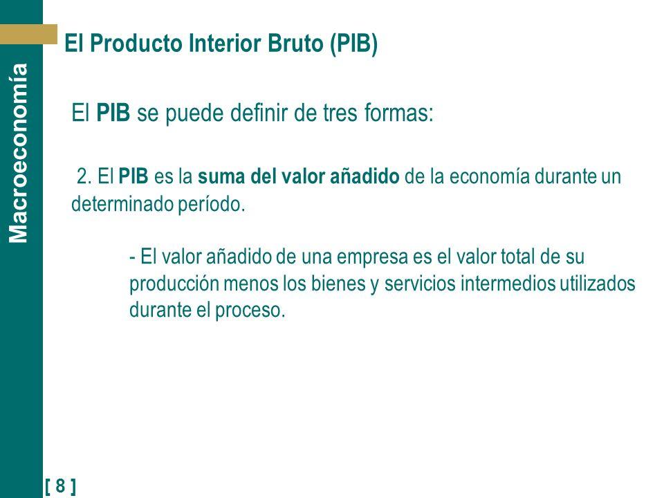 [ 8 ] Macroeconomía El Producto Interior Bruto (PIB) El PIB se puede definir de tres formas: 2. El PIB es la suma del valor añadido de la economía dur