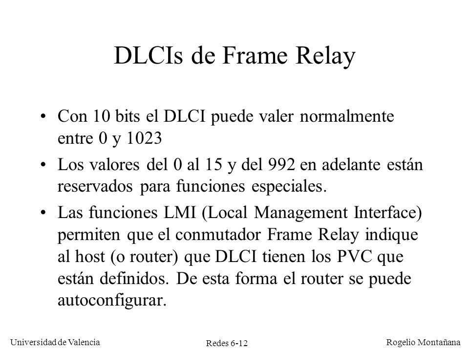 Redes 6-12 Universidad de Valencia Rogelio Montañana DLCIs de Frame Relay Con 10 bits el DLCI puede valer normalmente entre 0 y 1023 Los valores del 0