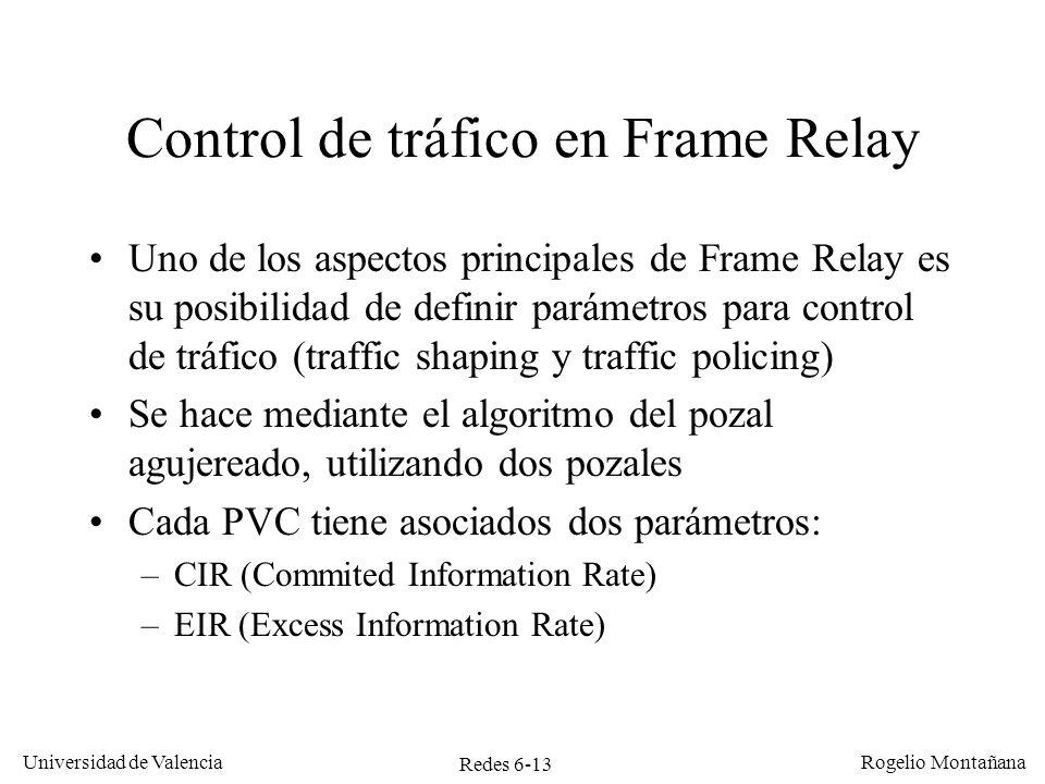 Redes 6-13 Universidad de Valencia Rogelio Montañana Control de tráfico en Frame Relay Uno de los aspectos principales de Frame Relay es su posibilida