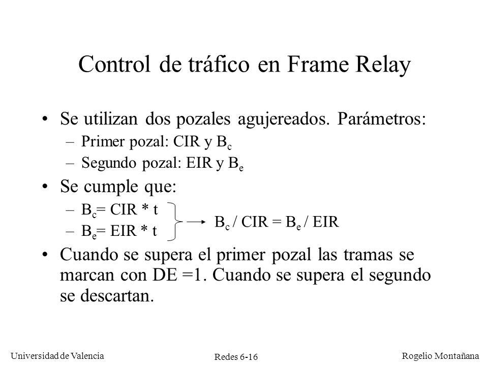Redes 6-16 Universidad de Valencia Rogelio Montañana Control de tráfico en Frame Relay Se utilizan dos pozales agujereados. Parámetros: –Primer pozal: