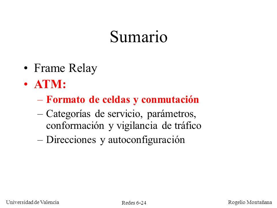 Redes 6-24 Universidad de Valencia Rogelio Montañana Sumario Frame Relay ATM: –Formato de celdas y conmutación –Categorías de servicio, parámetros, co